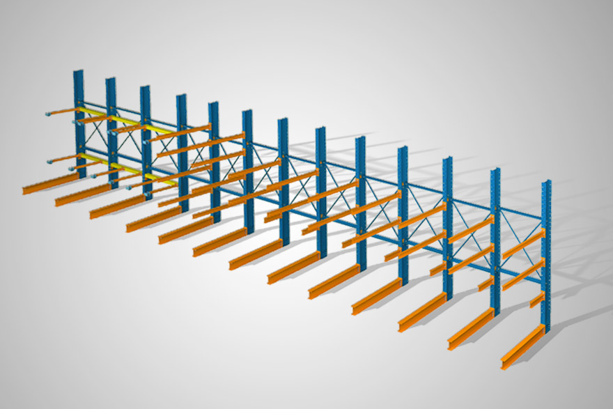 Structural steel cantilever rack systems