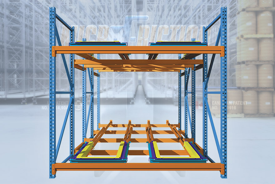 Microfriction® pushback racking system