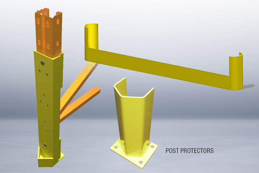 Structural steel post protectors and end of aisle protectors